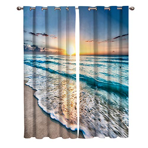 Window Treatments Curtains Room Window Panel Set for Living/Dining/Bedroom, Ocean Theme Sand Beach Wave Sea Water Pattern 52 by 84 Inch, 2 Panels