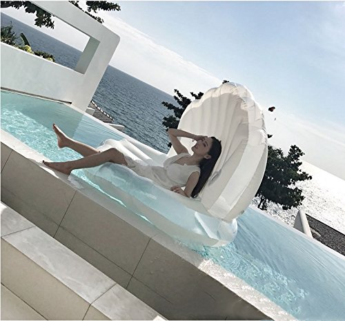 GDAE10 Inflatable Pearl Pool Float, Giant Shell with Rapid Valves Summer Water Sport Raft Toy For Adults Kids,Suitable For Beach Swimming Pool - Pearl By FBA (Pearl White / White Handles by GDAE10 (Image #1)
