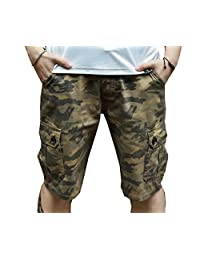 JUCA Men's Camouflage Teenagers Plus Size Beach Pants Slim Fit Casual Shorts