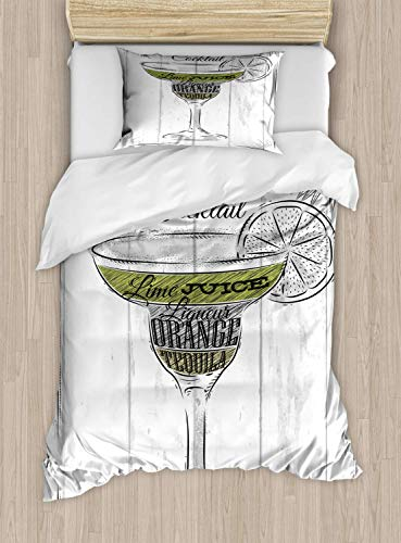 Luxury Cocktail 2 Piece Bedding Set Twin Size, Ingredients of Margarita Sketch Lime Juice Liqueur Orange and Tequila, 2PCS Duvet Cover Set with 1 Pillow Case for Kids/Teens/Children Room