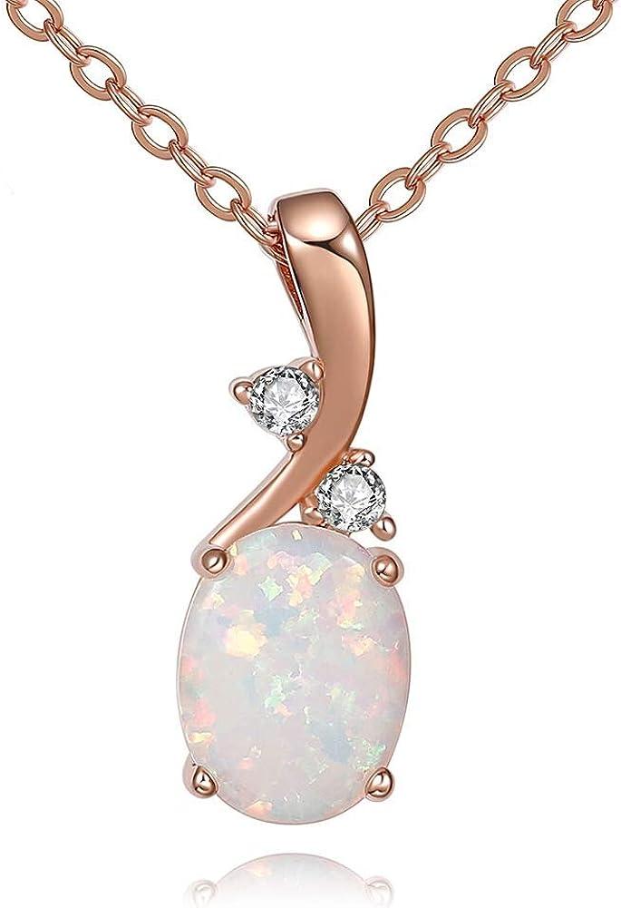 AILUOR Plata de Ley de creación de la Mujer Colgantes de ópalo Collar de Piedras Preciosas Oval Piedra Natal