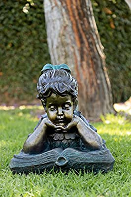 Alpine Corporation Girl Laying Down Reading Book Statue Set - Outdoor Decor for Garden, Patio, Deck, Porch - Yard Art Decoration