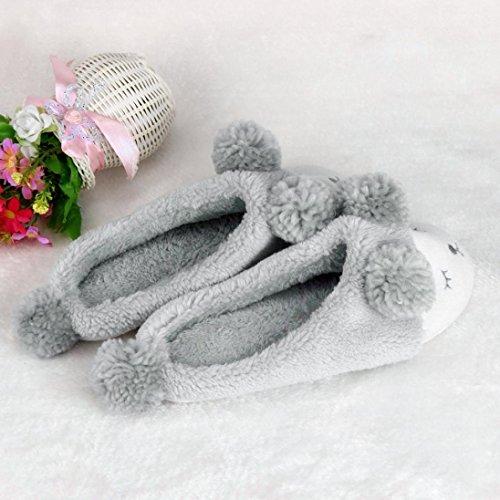 Sagton Plysch Hem Toffel Söta Kvinnor Män Vinter Hus Skor Grå