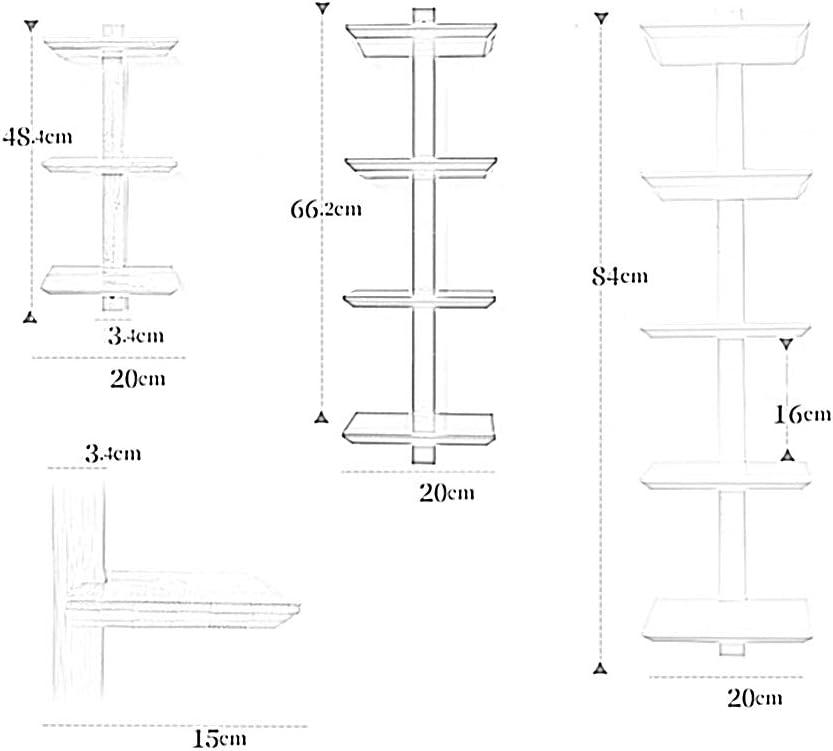 JTWJ Soporte Flotante Vertical de Almacenamiento de dise/ño Fijo con suspensi/ón de repisa Madera Minimalista a Prueba de Humedad 3 Estilos Color : A-White, Tama/ño : 20x15x66.2cm