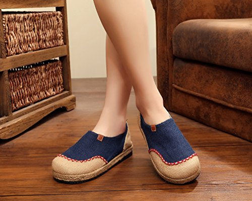 Ausom Womens Fashion Slip-on Ronde Neus Platte Lijn Espadrilles Loafer Canvas Schoenen Blauw