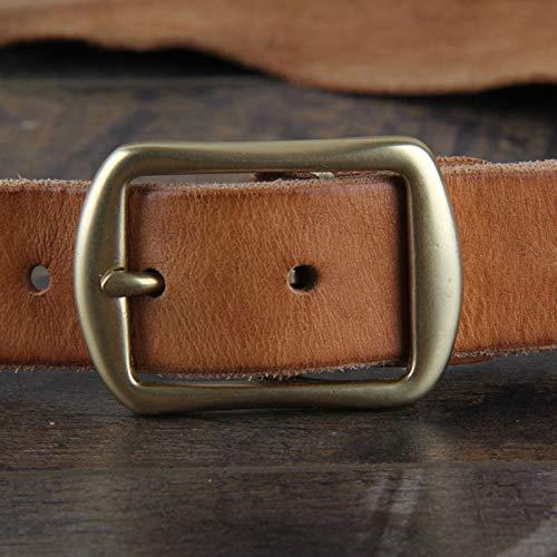 HeroStore New 3cm Wide Head Layer Cowhide Leather Handmade Copper Buckle Lady Vintage Japanese Word Buckle Leather Belt Men Belt