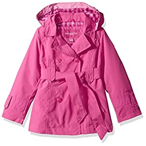 London Fog Little Girls' Double Breasted Belted Trench Coat, Fuchsia with Gingham, 5/6