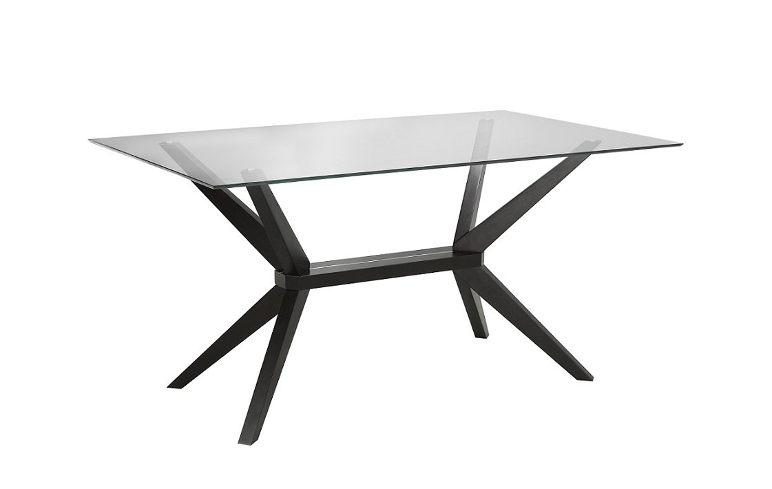 "Uptown Club Vanora Collection Modern Tempered Glass Top Long Dining Table, 63"" L x 35.4"" W x 29.5"" H, Dark Walnut"
