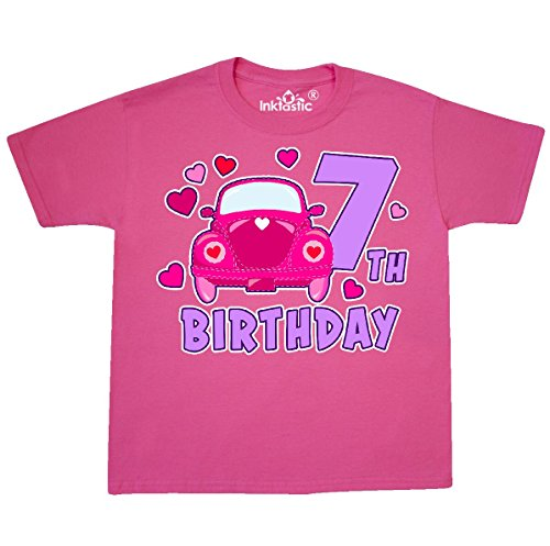 inktastic Love Bug 7th Birthday Youth T-Shirt Youth X-Large (18-20) Neon Pink