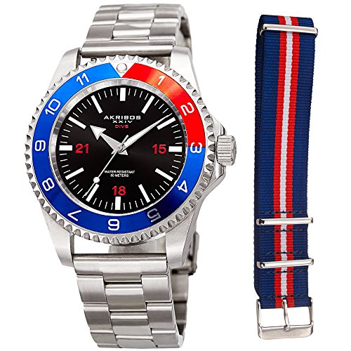 Akribos XXIV Men's Diver Watch – Silver Stainless Steel and Red White and Blue NATO Strap – Black Dial – Round Analog - AK1002RDBU - Link Designer Water Resistant Watch
