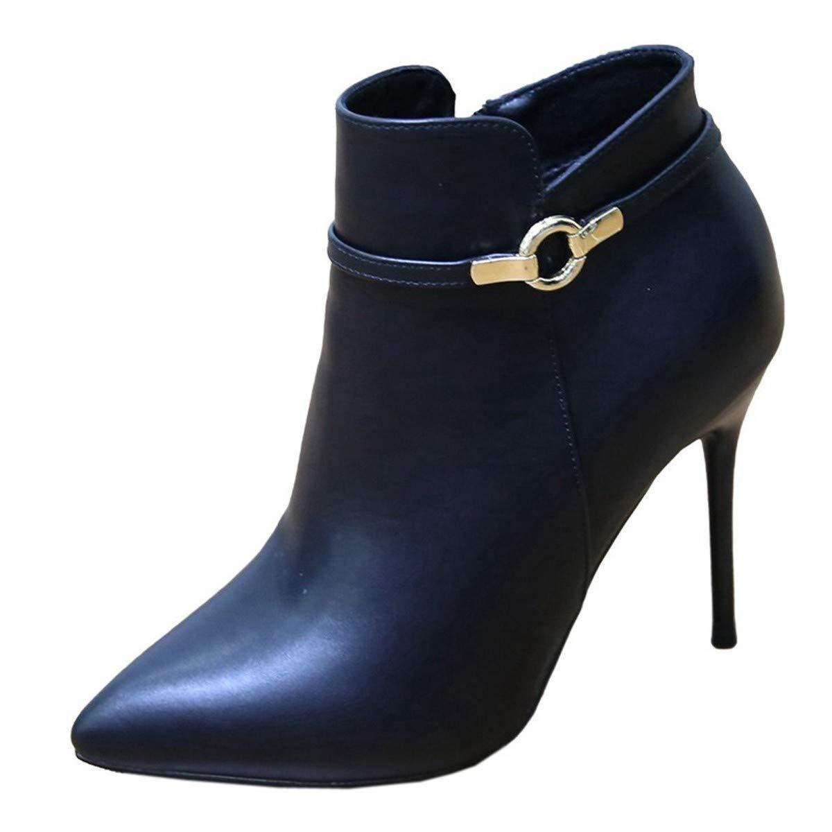 LBTSQ-Spikes Dünnen Absätzen High Heels 10CmKurze Stiefel SAMT Baumwolle Schuhe Schnallen Martin Stiefel Witze.