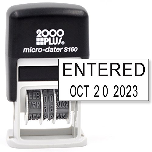 Cosco 2000 Plus Self-Inking Rubber Date Office Stamp with Entered Phrase & Date - Black Ink (Micro-Dater 160), 12-Year Band