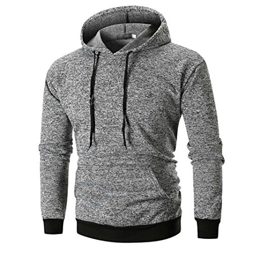 Zainafacai New Blouse,Men's Long-Sleeve Bodybuilding Sport Hoodies Slim Fit Sweater (Gray, XL) by Zainafacai