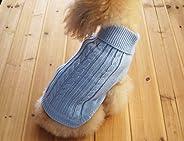 FAMI Cute Pet Clothes, European Classical Pet Sweater, Turtleneck Dog Sweater with Classic Aran Knit(SkyBlue-