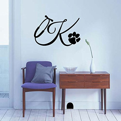 cope with Paw Print Monogram Letter Initial Vinyl Wall Words Decal Sticker Graphic ()