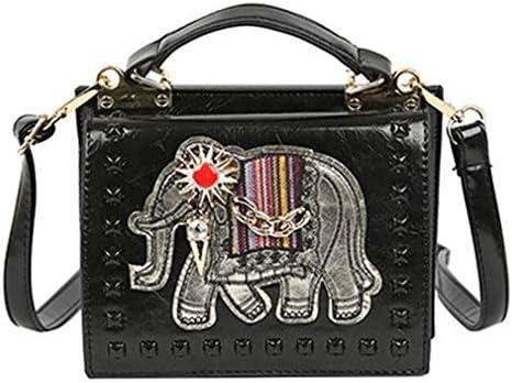 かわいい象の小さな袋、女性の野生のメッセンジャーバッグ、韓国のレトロなショルダーバッグ、携帯用の小さな正方形の袋、黒、20 * 15 * 13 Cm 美しいファッション