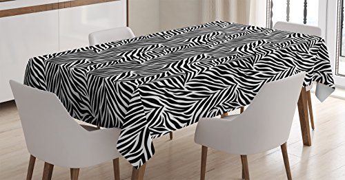Ambesonne Zebra Print Decor Tablecloth, Animal Print Zebra Pattern Fashionable Trendy Decorating Illustration, Dining Room Kitchen Rectangular Table Cover, 60 X 84 inches, Black White by Ambesonne