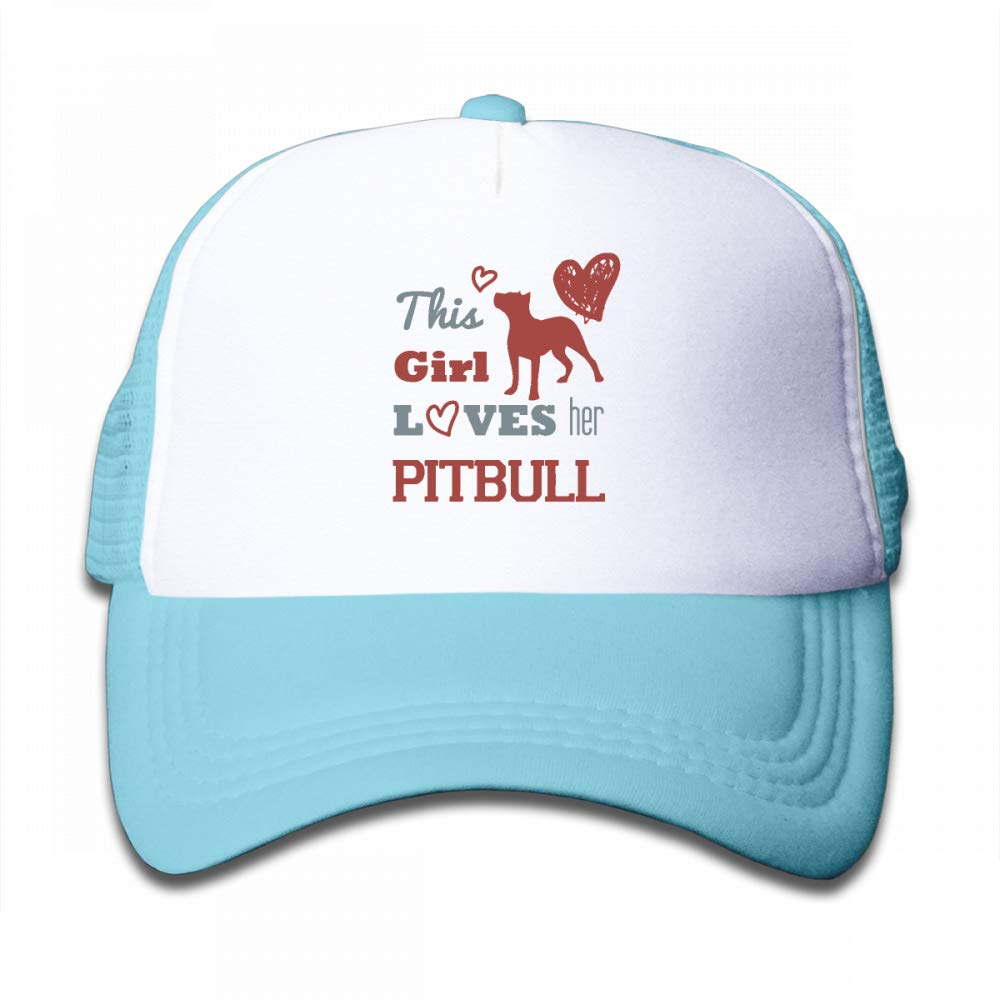 Kid's Boys Girls This Girl Loves Her Pit Bull Youth Mesh Baseball Cap Summer Adjustable Trucker Hat by NO4LRM (Image #1)