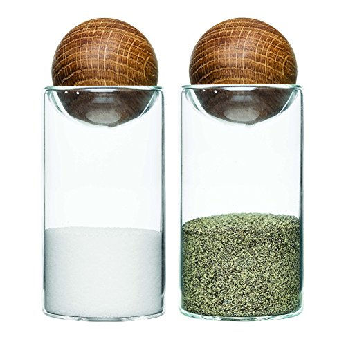 Sagaform Nature Collection Glass Salt & Pepper Shakers with Oak Stopper 4 1/2-Inch, Set of 2