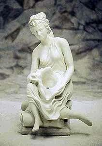 Gárgola, Figura de mujer sentada con conchas, piedra, Jardín Figura, gris claro