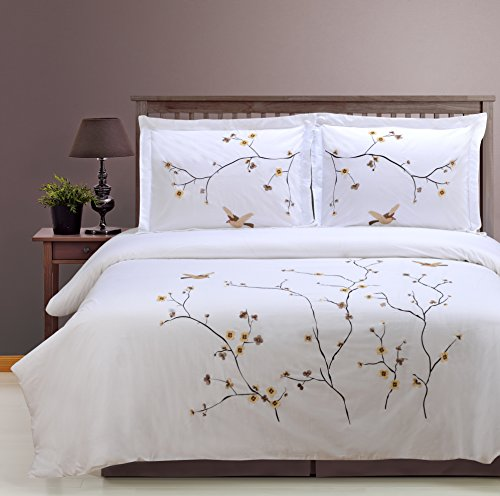 (Superior 100% Cotton Percale Embroidered 3-Piece Duvet Cover Set, King/California King, Blossom)