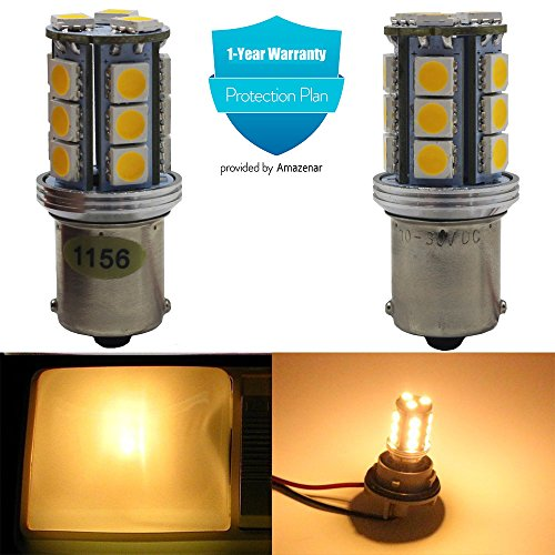 2-Pack 1156 BA15S 7506 1141 1003 1073 1095 Extremely Bright 300Lum Warm White 3000K LED Light 10-30V-DC, AMAZENAR 5050 18 SMD Car Replacement For Interior RV Camper Turn Signal Light Lamps Tail Bulb