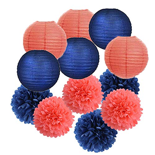12pcs Mixed Navy Coral Tissue Paper Flowers Ball Pom Poms Paper Lanterns Craft Kit for Navy Coral Themed Birthday Party Decor Baby Shower Decor Bridal Shower Decor Wedding Party Decorations