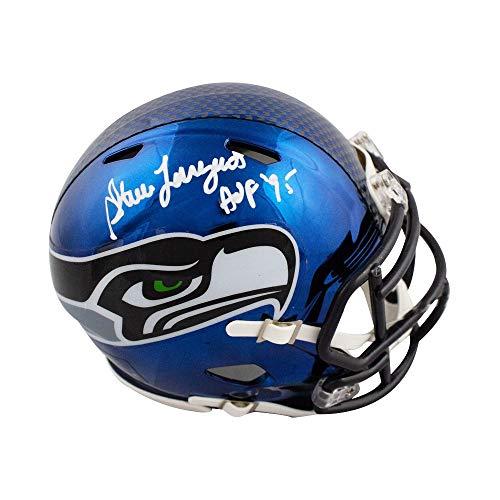 (Steve Largent HOF Autographed Seattle Seahawks Chrome Mini Football Helmet - JSA)