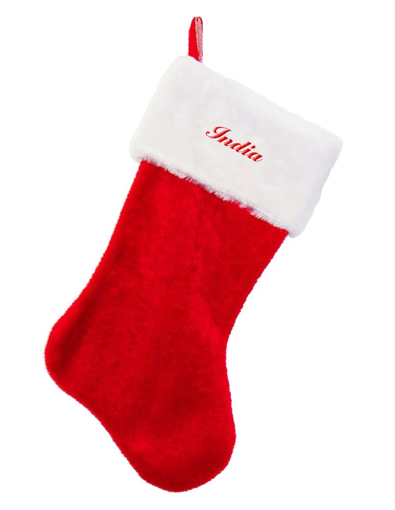 India Embroidered Name Red Plush Christmas Stocking by Fastasticdeal (Image #1)