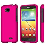 LG Optimus L70 (Metro PCS) Slim Light Hybrid Snap On Non-Slip Matte Hard Case Protex Rubberized Rubber Coating Protective Case - Rose Pink - Retail Packaging