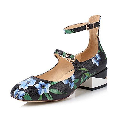 Nine Seven Cuero Puntera Cuadrada Zapatos de Tacón Grueso con Correa de Tobillo con Flores para Mujer negro