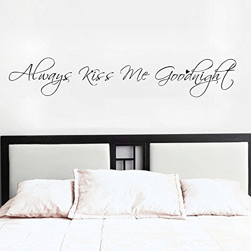 MoharWall Always Kiss Me Goodnight Bedroom Wall Quotes Decal Love Saying Sticker Vinyl Art Women Decor Living -