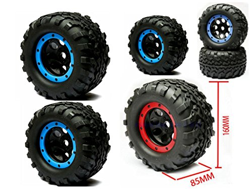 2pcs 1/8 Scale RC Monster Truck MT Wheels & Tires Blue Ring Beadlock Rims(2) Hex 17mm (160mm x85mm) Fits HPI Savage X4.6 F4.6 FLUX Ofna Hobao HSP Redcat Traxxas Losi FS Racing