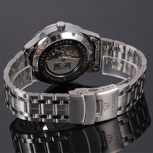 Skeleton Analog Silver Steel Band Mens Mechanical Automatic Wrist Watch