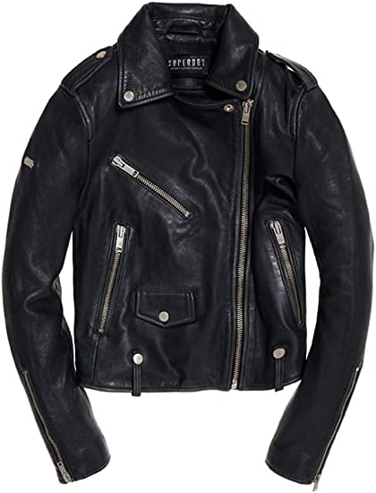 Superdry Rylee Biker Manteau, Noir (Black 02a), Small