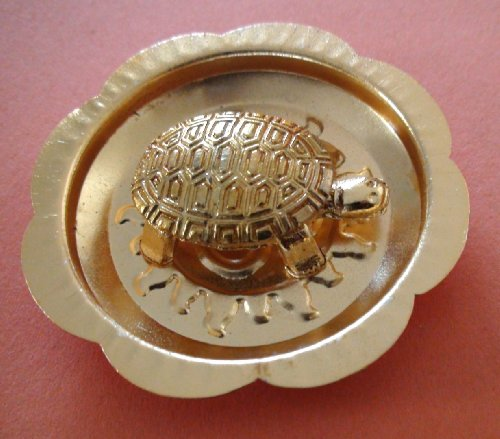 Brass Turtle - BLESSED & ENERGIZED FENGSHUI HINDU WISH FULFILLING TORTOISE KACHAP KACHUA YANTRA WITH OM PLATE - USA SELLER