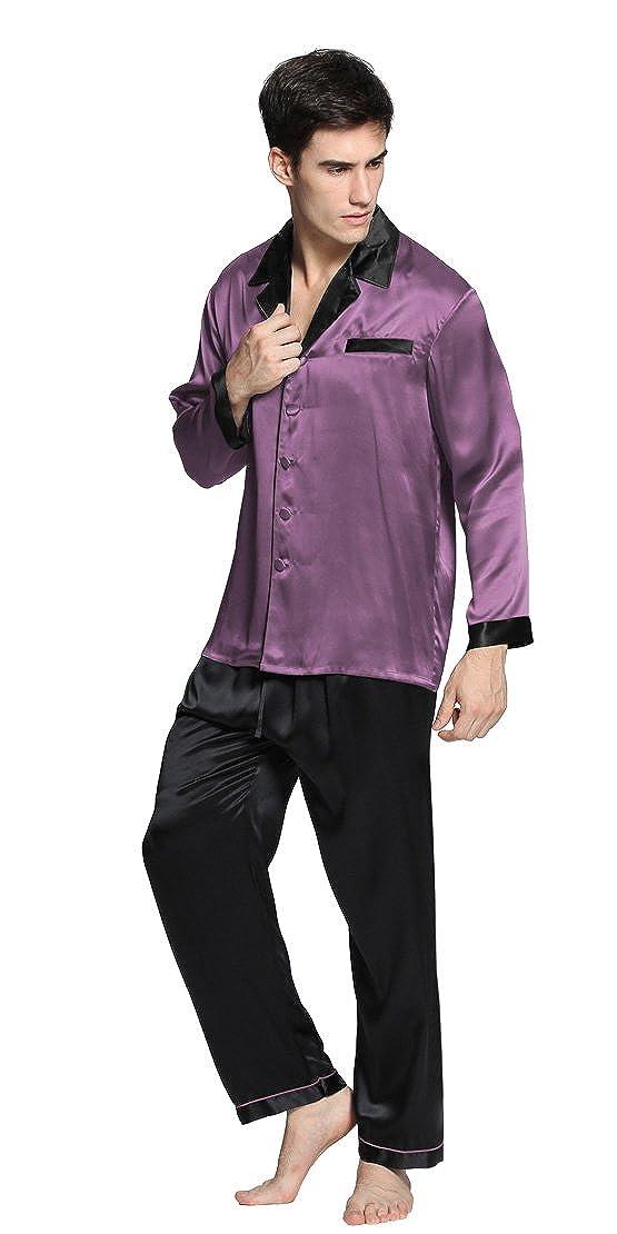 LilySilk 22 Momme Seide Nachtkleid Pyjamas Set Nachthemd Nachtw/äsche Herren Verpackung MEHRWEG