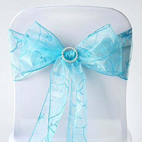 (Efavormart 5pc x Turquoise Leaf-Motif Organza Embroidered Chair Sash for Wedding Decor Chair Bow Sash Party Decoration Supplies)