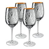 Artland Brocade Wine Glass, 15 oz, Silver, Set of 4 For Sale