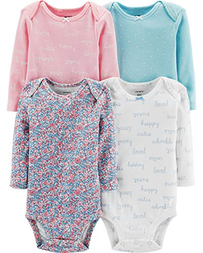 Carter's Baby Girls' 4-Pack Bodysuits (Floral/Pink/White/Dot, Newborn)
