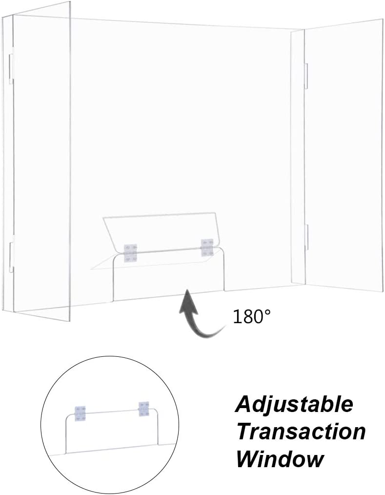 Set of 2 EAMATE Acrylic Sneeze Guard 32 x 24 Clear Plexiglass Personal Freestanding Sneeze Shield Barrier with Adjustable Transaction Window for Counter Store School Office Clinic