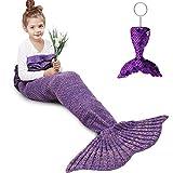 AmyHomie Mermaid Tail Blanket, Crochet Knitting Mermaid Blanket, Mermaid Tail Blanket for Kids All Seasons Sleeping Blankets for Girls (55x28in Purple)
