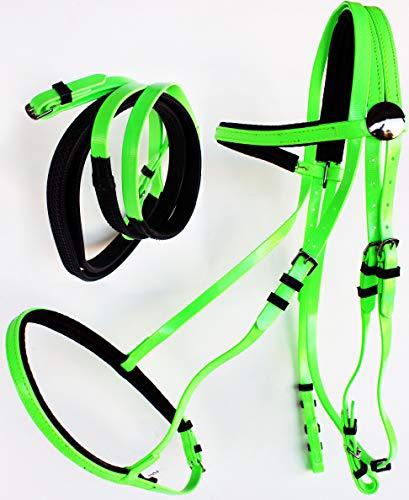 (PRORIDER Horse English Endurance Biothane Noseband Bridle w/Reins Lime Green 40HS38)