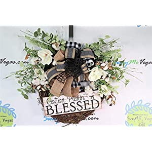 Cotton Pickin Blessed Everyday Wreath, Farmhouse Door Decoration, Grapevine Wall Adornment, Magnolia Floral Arrangement, Black and White 119