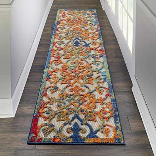 Nourison Aloha ALH21 Multicolor Easy-Care Indoor-Outdoor Rug Runner 2'3