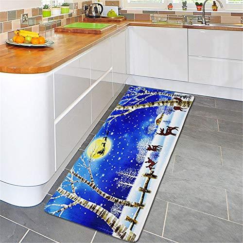 - Wffo Christmas Floor Entrance Door Bathroom Mat Indoor Bathtub Carpet Doormats Decor 60x180cm (Blue)
