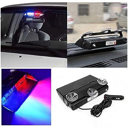 BICYCLISM Multicolor 8 LED for Car Dash Strobe Lights Blue/Red Flash