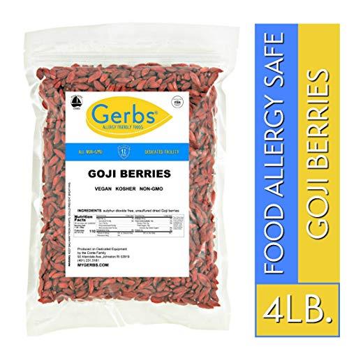 Gerbs Goji Berries, 4 LBS, Unsulfured & Preservative Free by Gerbs - Top 14 Food Allergen Friendly & NON GMO