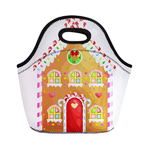 Semtomn Neoprene Lunch Tote Bag Gingerbread House Decorated Candy Icing and Sugar Christmas Cookies Reusable Cooler Bags Insulated Thermal Picnic Handbag for Travel,School,Outdoors,Work -