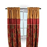 Austin Horn Classics Montecito Royale Pair of Drapery Panel, 84″ x 52″, Red/Gold For Sale